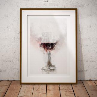 ett glas rött vin poster