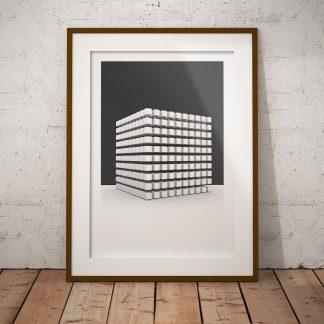 kubism kuber 3d-renderat poster