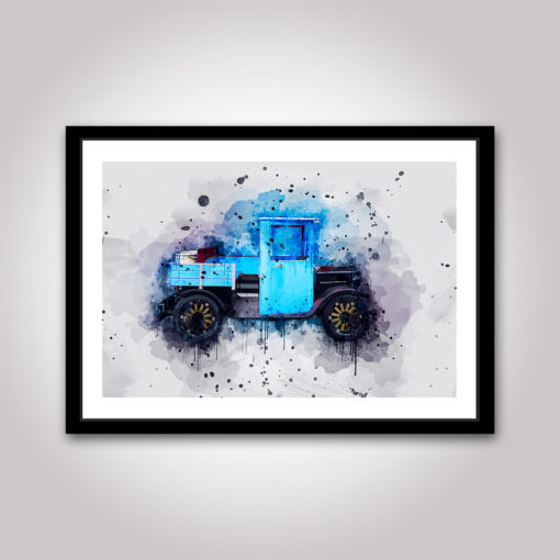 automotiv blue veteranbil poster