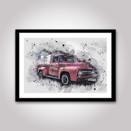 Ford F100 röd poster