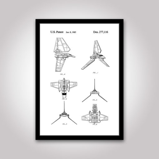 imperial shuttle star wars patentritning poster