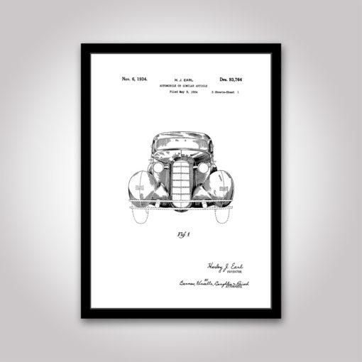 automobile patentritning poster