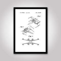 x-wing star wars patentritning poster
