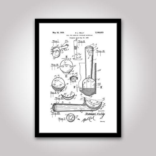 glasskopa patentritning poster