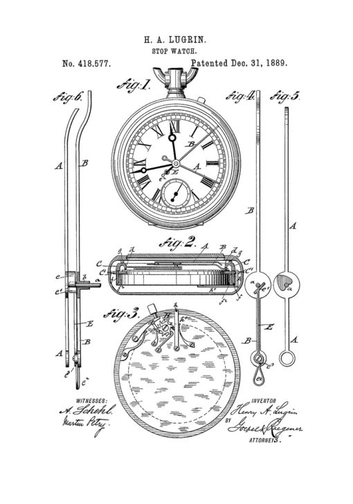 Lemania stoppur poster patent